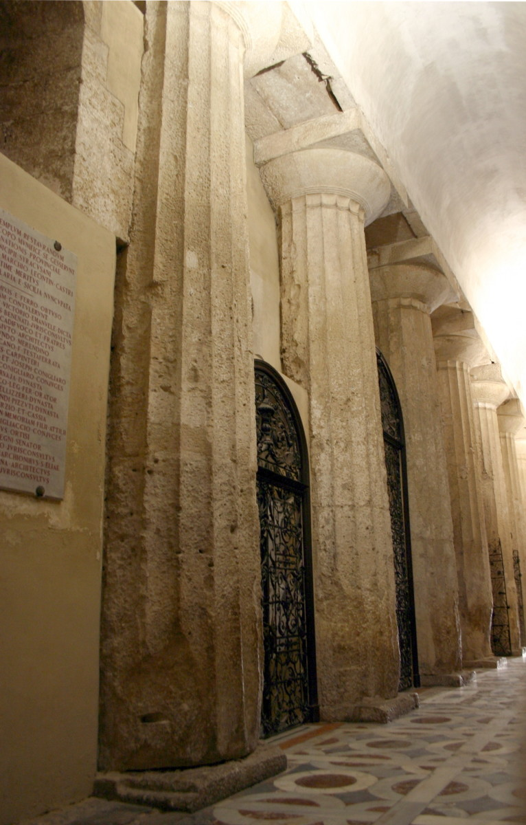 Ancient Doric columns in the Siracusa Cathedral.
