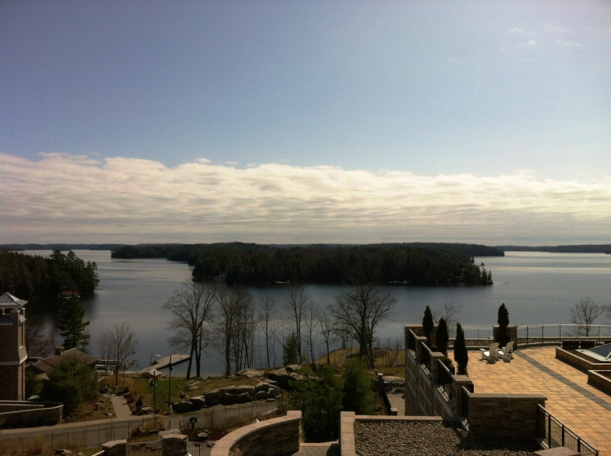 A view of Lake Rosseau from the balcony of a suite at the Rosseau Marriott in Muskoka, Ontario.