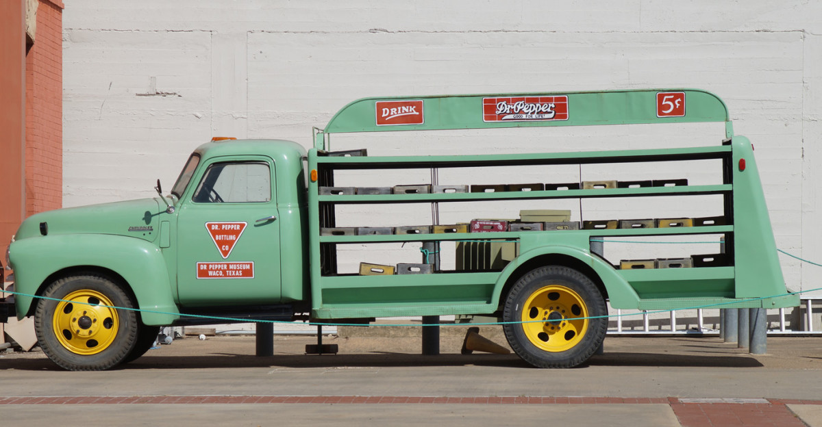 An old-timey Dr. Pepper delivery truck.