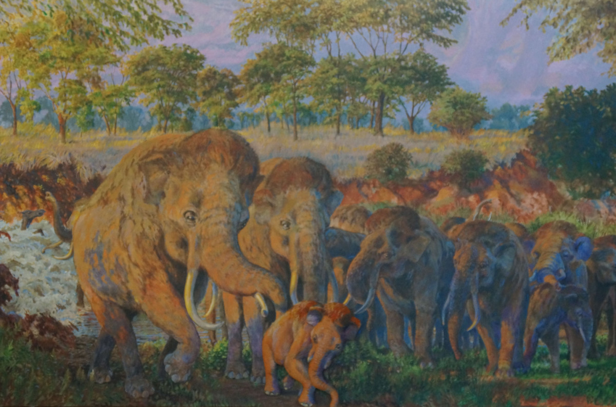 Artist's depiction of what may have transpired at the Waco Mammoth site.