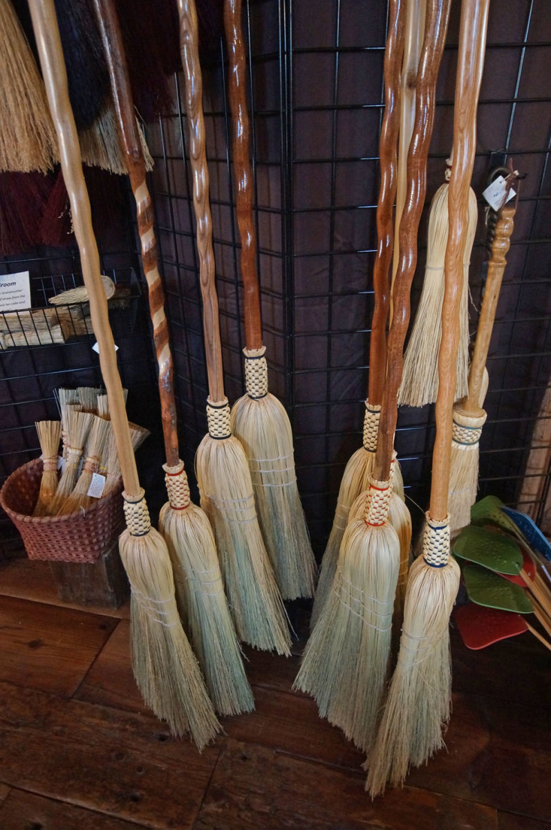 Floor and whisk brooms and flyswatters in the craft store.  You can also find interesting walking sticks and canes there.