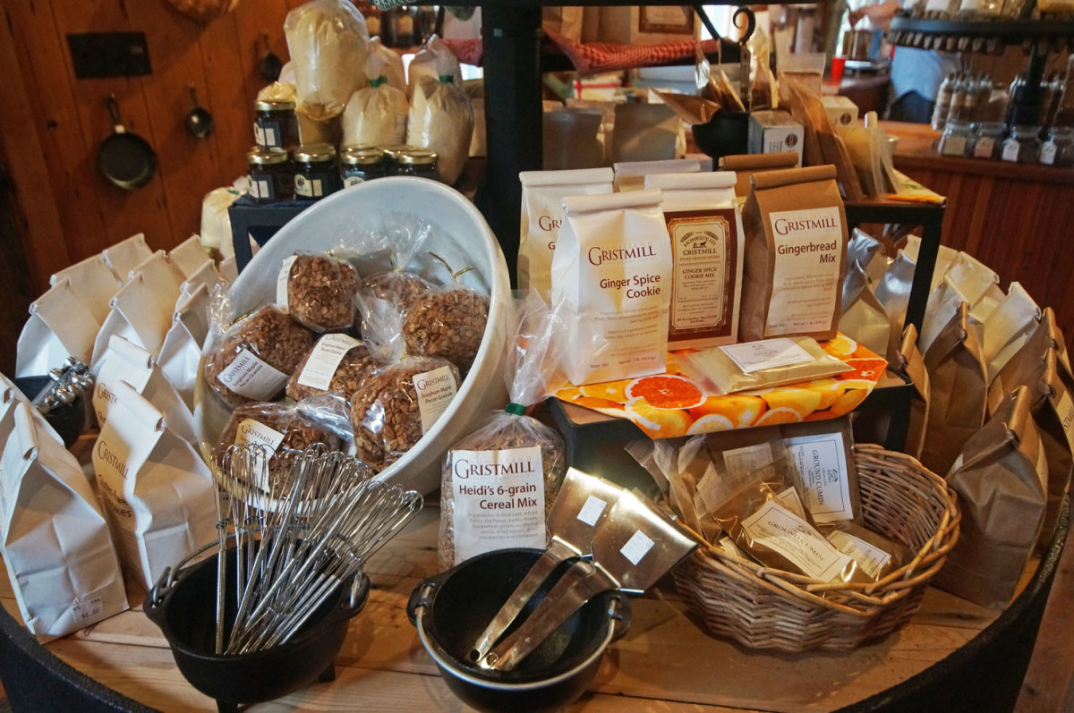 A cornucopia of items offered for sale at the gristmill.