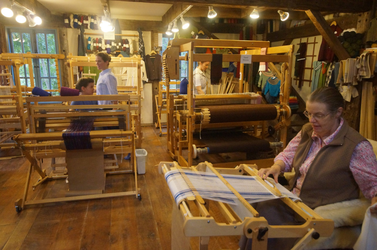 Several of the looms in the busy textile building at Homestead Heritage.