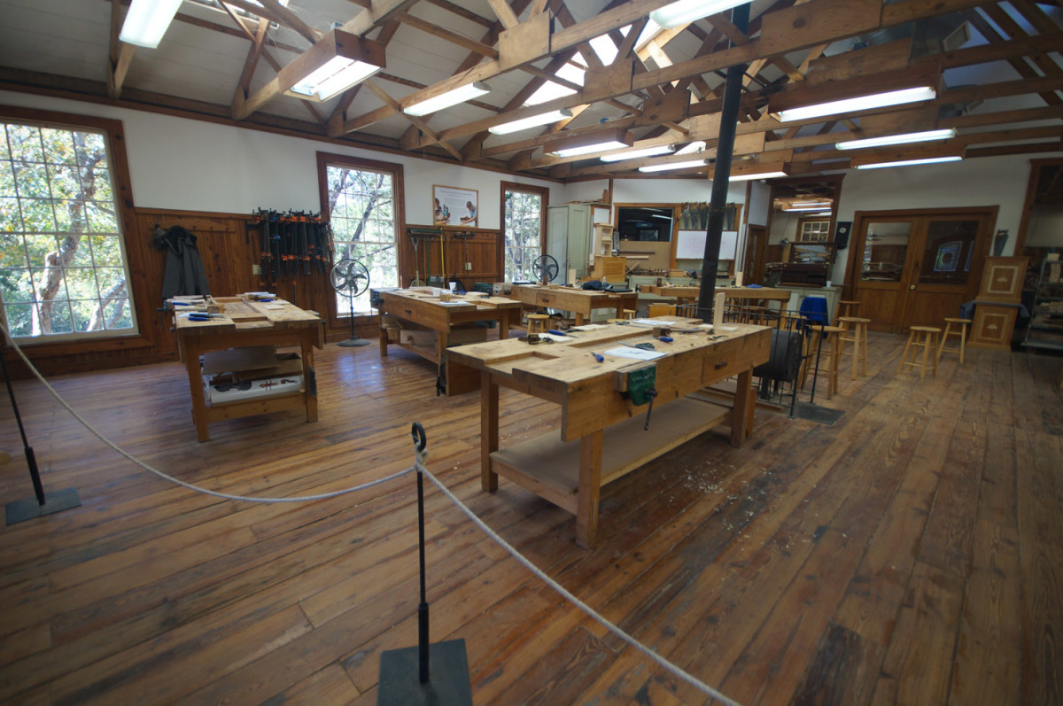 One side of the roomy woodworking shop.