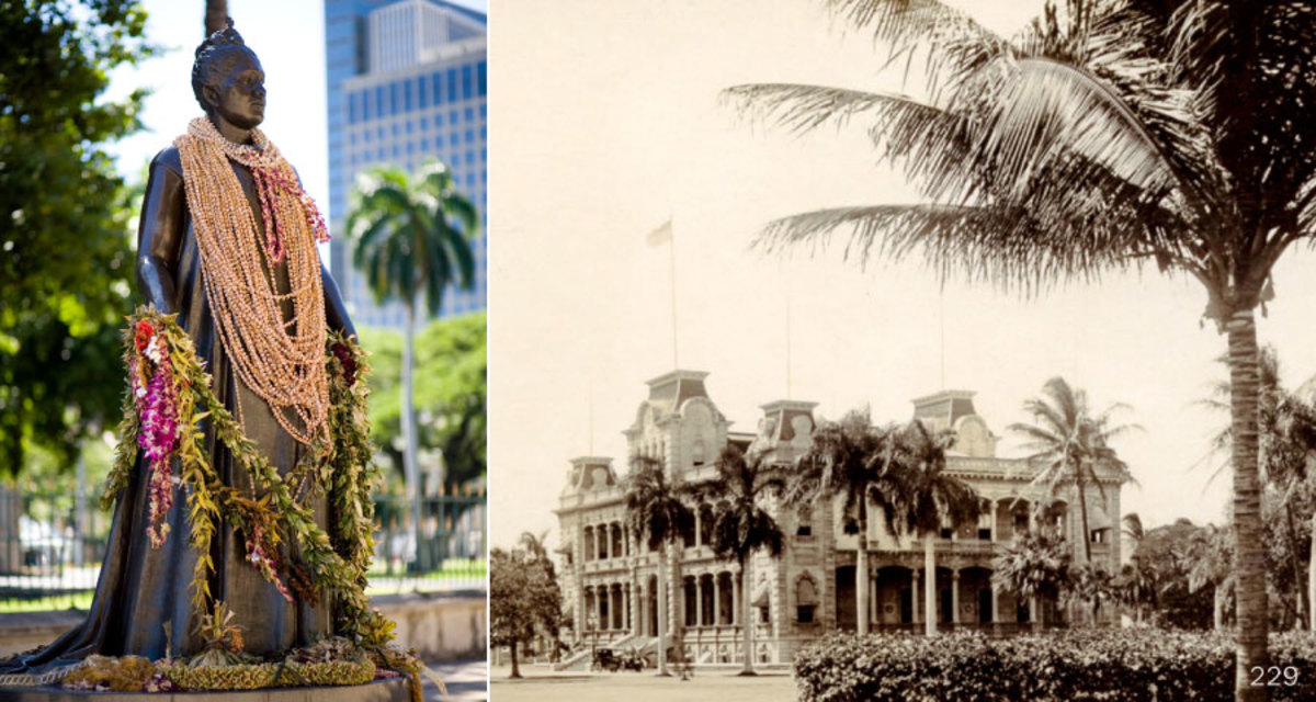 The statue of Queen Liliʻuokalani stands between 'Iolani Palace and the  Hawaiʻi State Capitol.