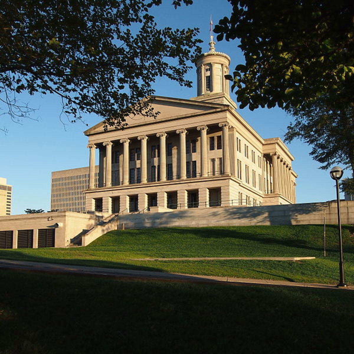 An uphill view the historic Tennessee State Capitol building.
