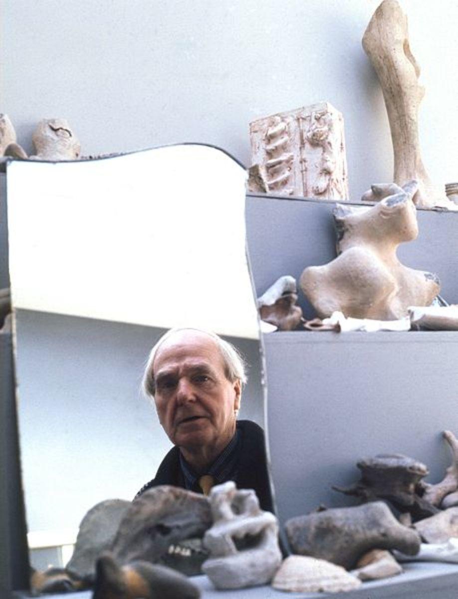 Henry Moore captured in his studio mirror.