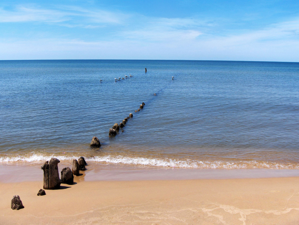 Former Kalamazoo River mouth today showing southern portion of abandoned pier pilings - Summer 2011