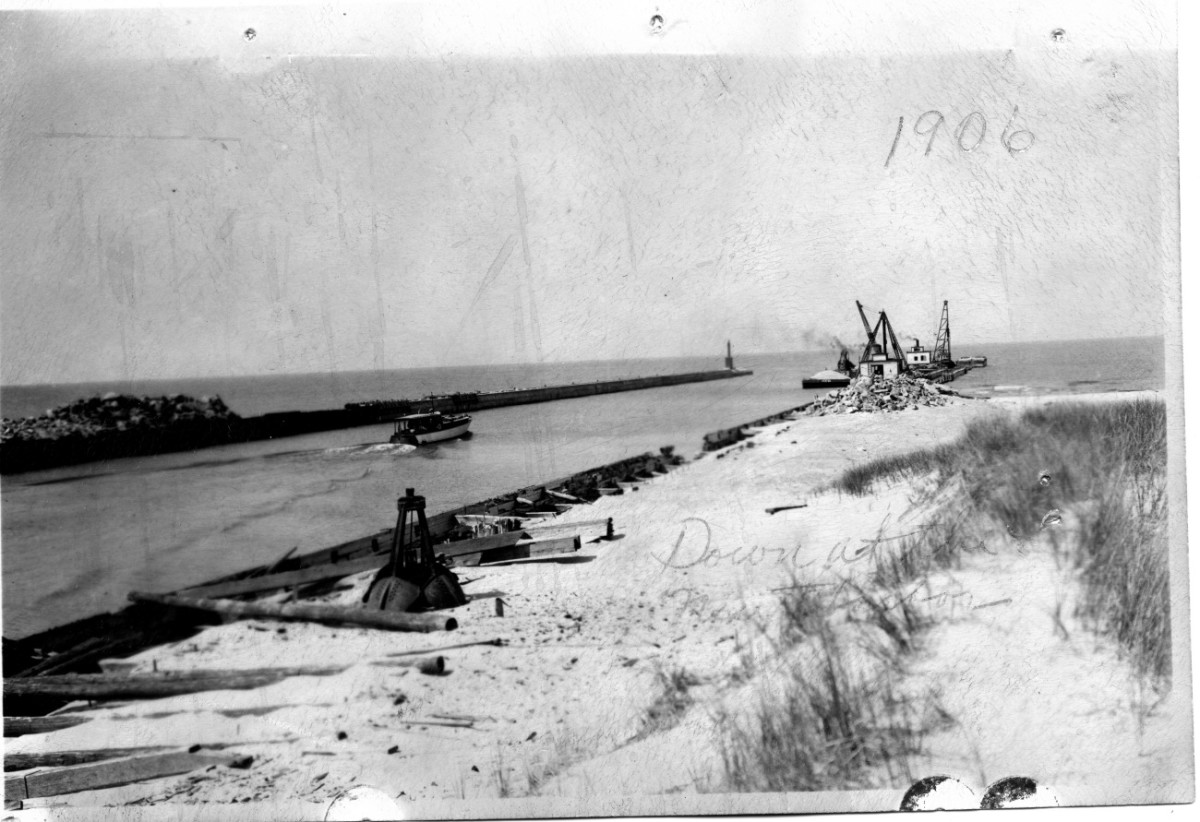 The newly dredged Kalamazoo River Mouth at the turn of the century