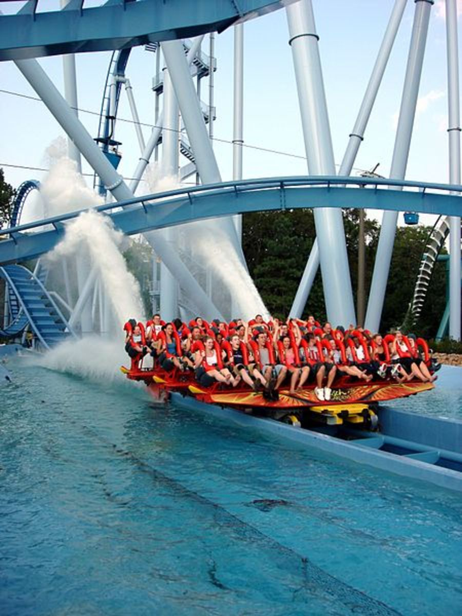 Riders of Griffon end the coaster in a gorgeous splashdown that slows the train down.