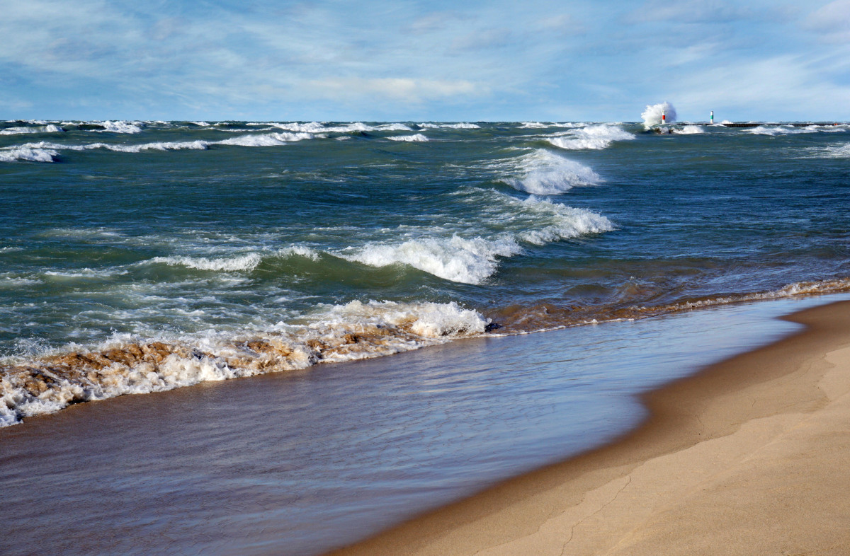 High surf on Lake Michigan at Oval Beach