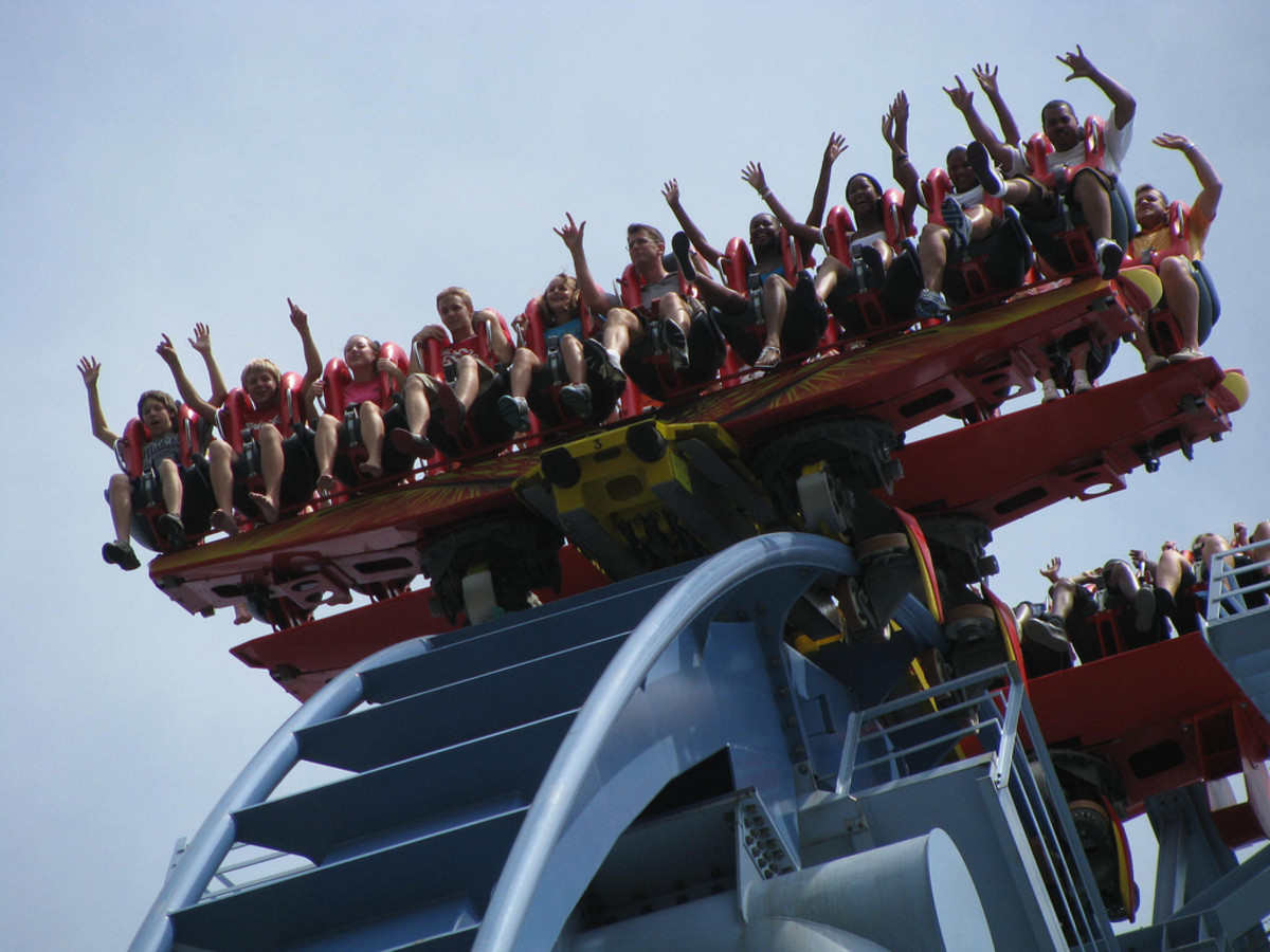 The coaster's floorless train design gives riders a free feeling, almost like flying.