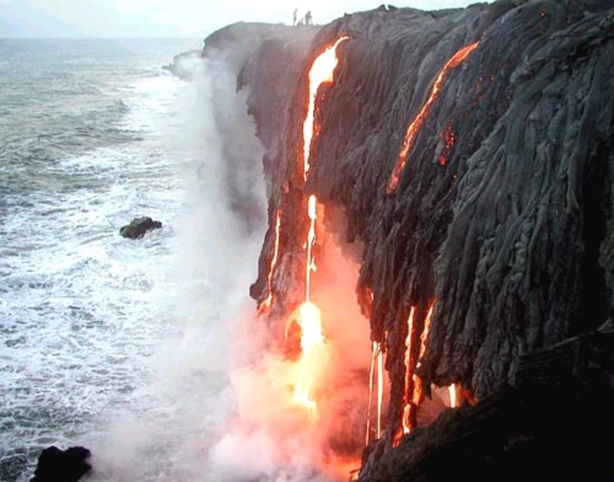 Molten lava flowing into the ocean off the southeastern coast of the Big Island.