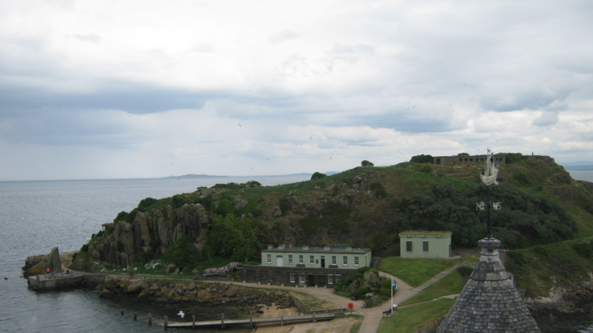 View from Abbey over Inchcolm Island to harbour and small shop
