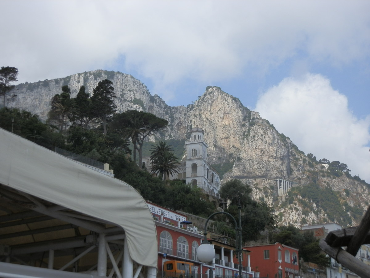 Looking up from the harbour toward Capri and the road up to Anacapri beyond
