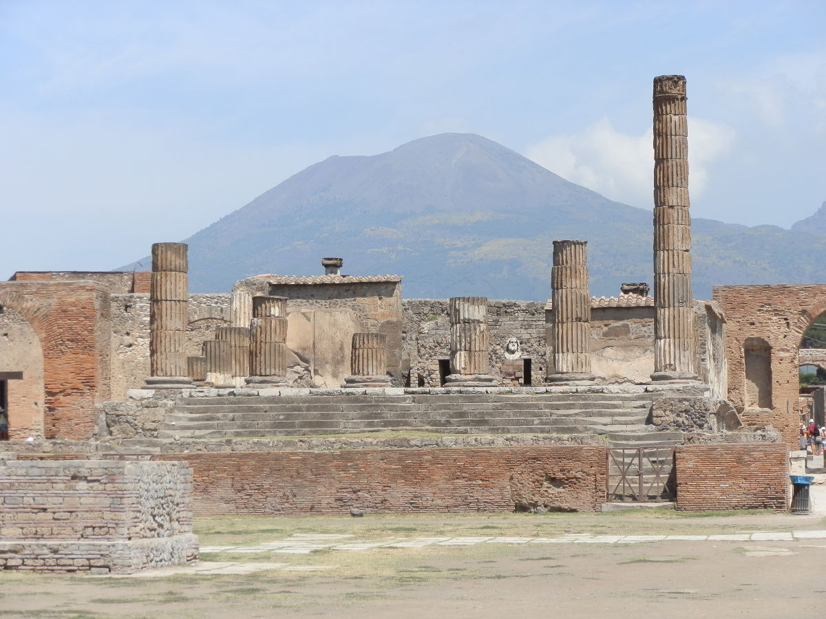 Mount Vesuvius seen from the ruins of Pompeii