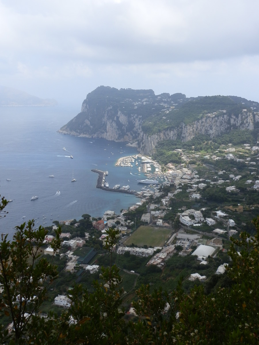 View of Capri's harbour from the lookout point on Anacapri
