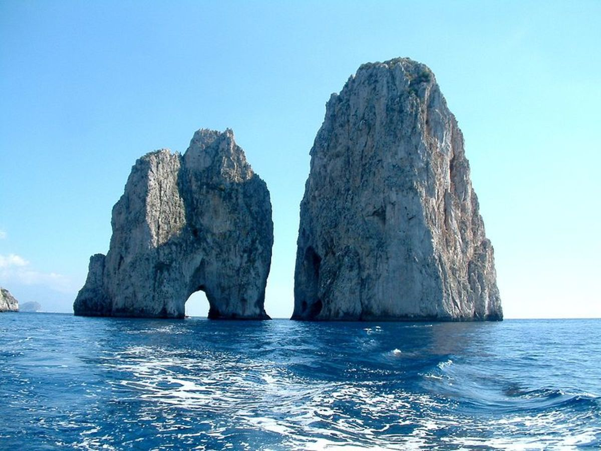 The Faraglioni or sea stacks off the southeastern tip of the island