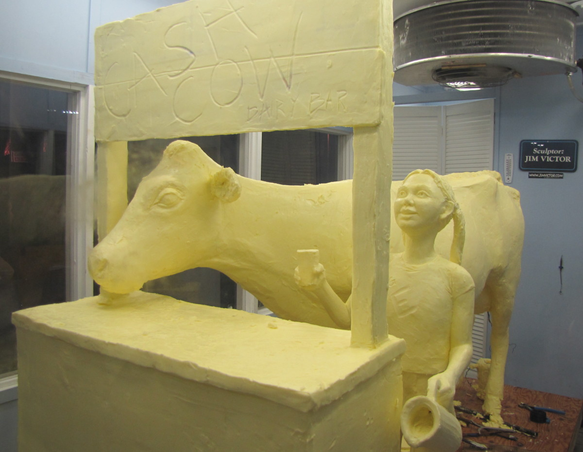 The Butter Cow. This sculpture is made entirely of butter.