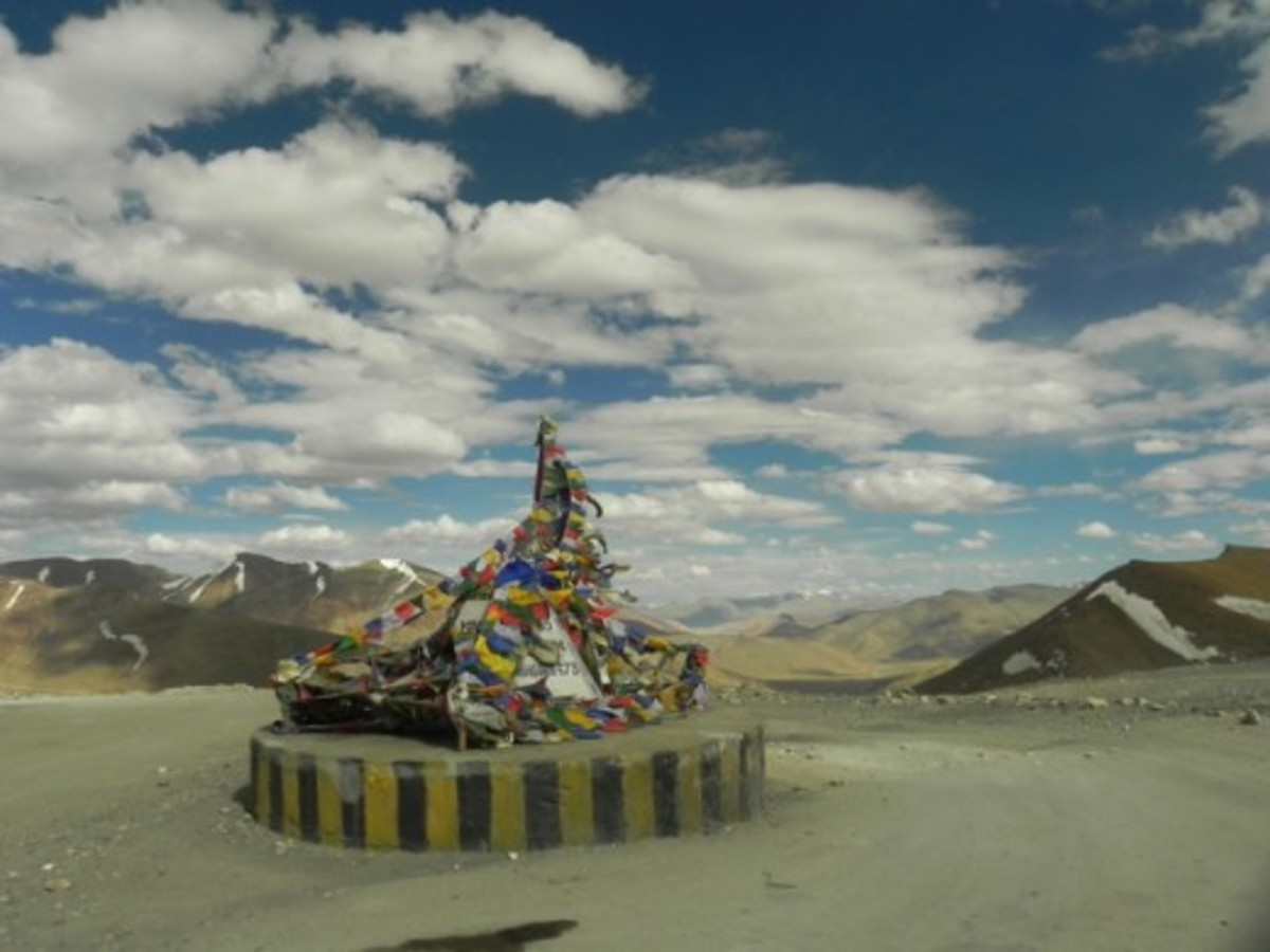 At the top of the world: At Taglang La on Leh-Manali Highway during Ladakh motorcycle trip