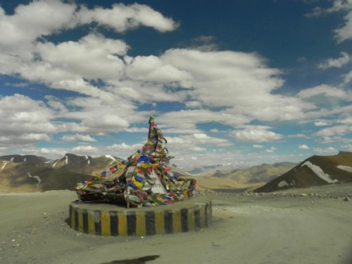 At the top of the world: At Taglang La on Leh-Manali Highway during Ladakh motorcycle trip