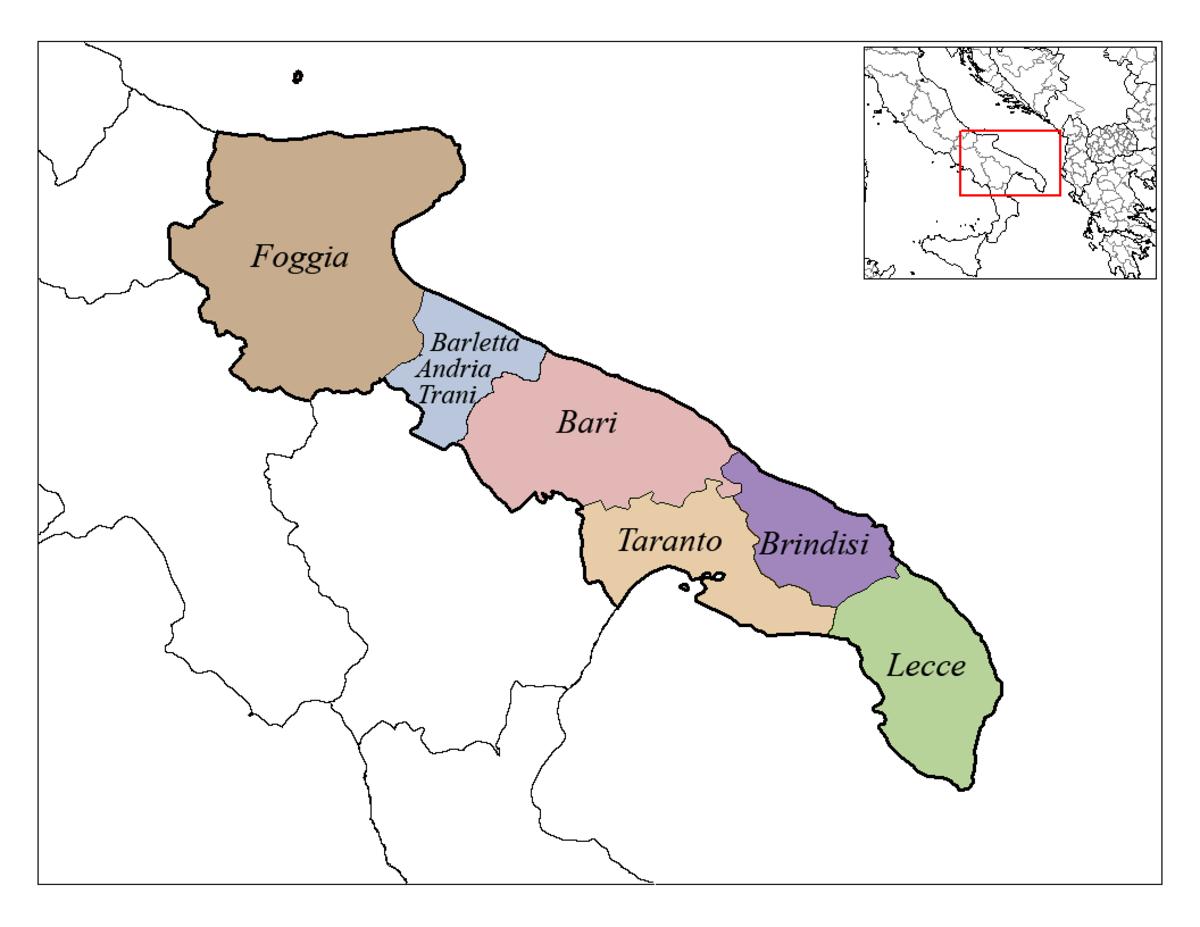 Six provinces make up the Puglia or Apulia region on the southeast coast of Italy.