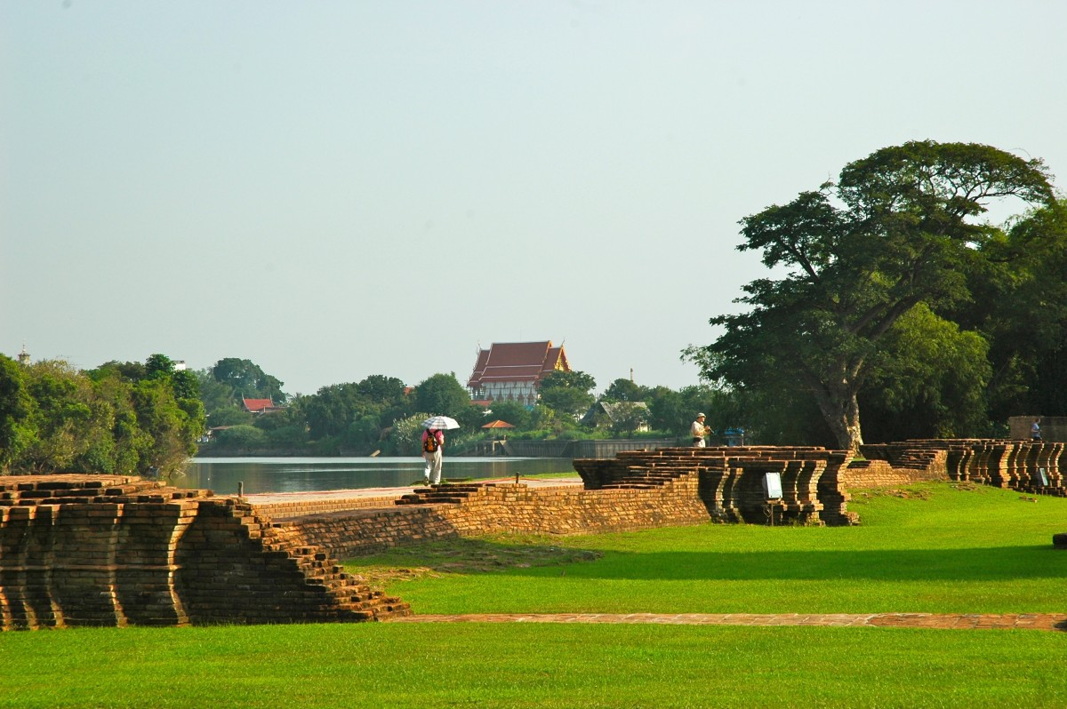 Looking across the river to Ayutthaya's palace