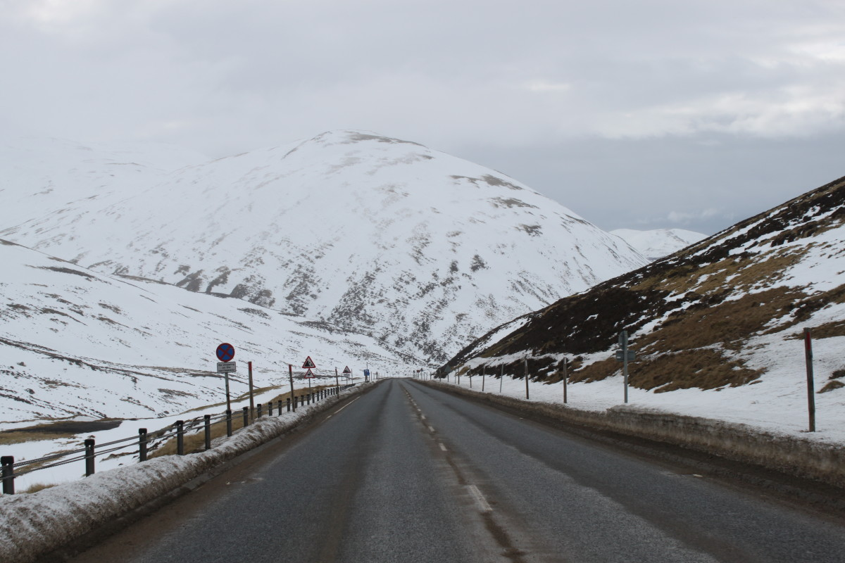 Looking down the steepest sections of the Cairnwell climb on the A93 Old Military Road