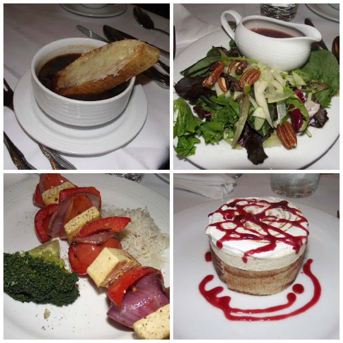onion soup, pear and pecan salad, grilled tofu skewers, maple cream cheesecake