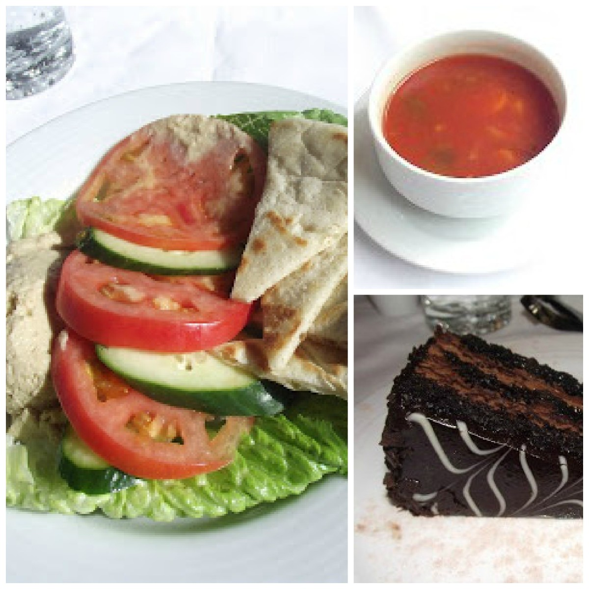 vegetable soup, hummus plate, decadent chocolate-caramel cake