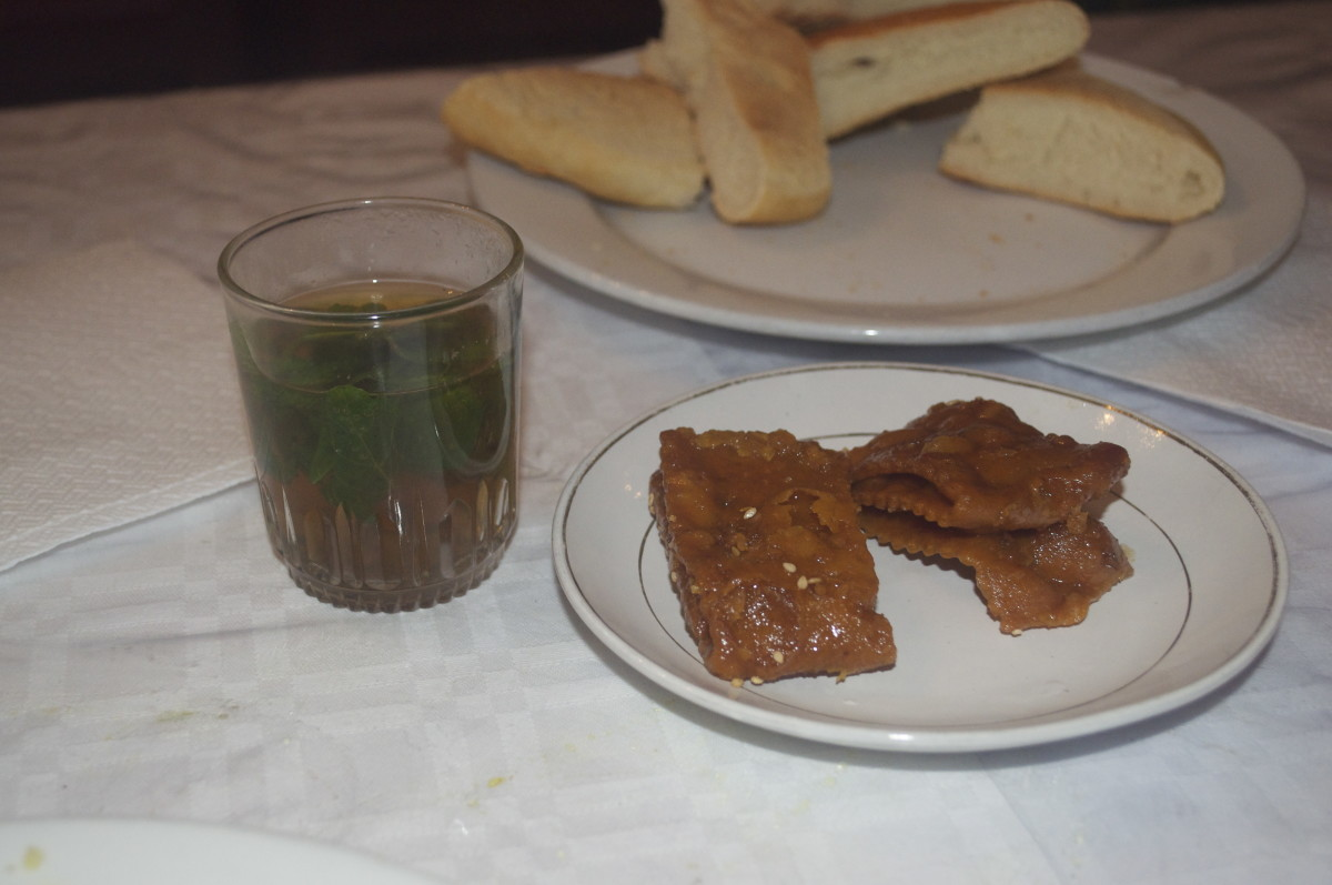 Baklava and traditional Moroccan tea.