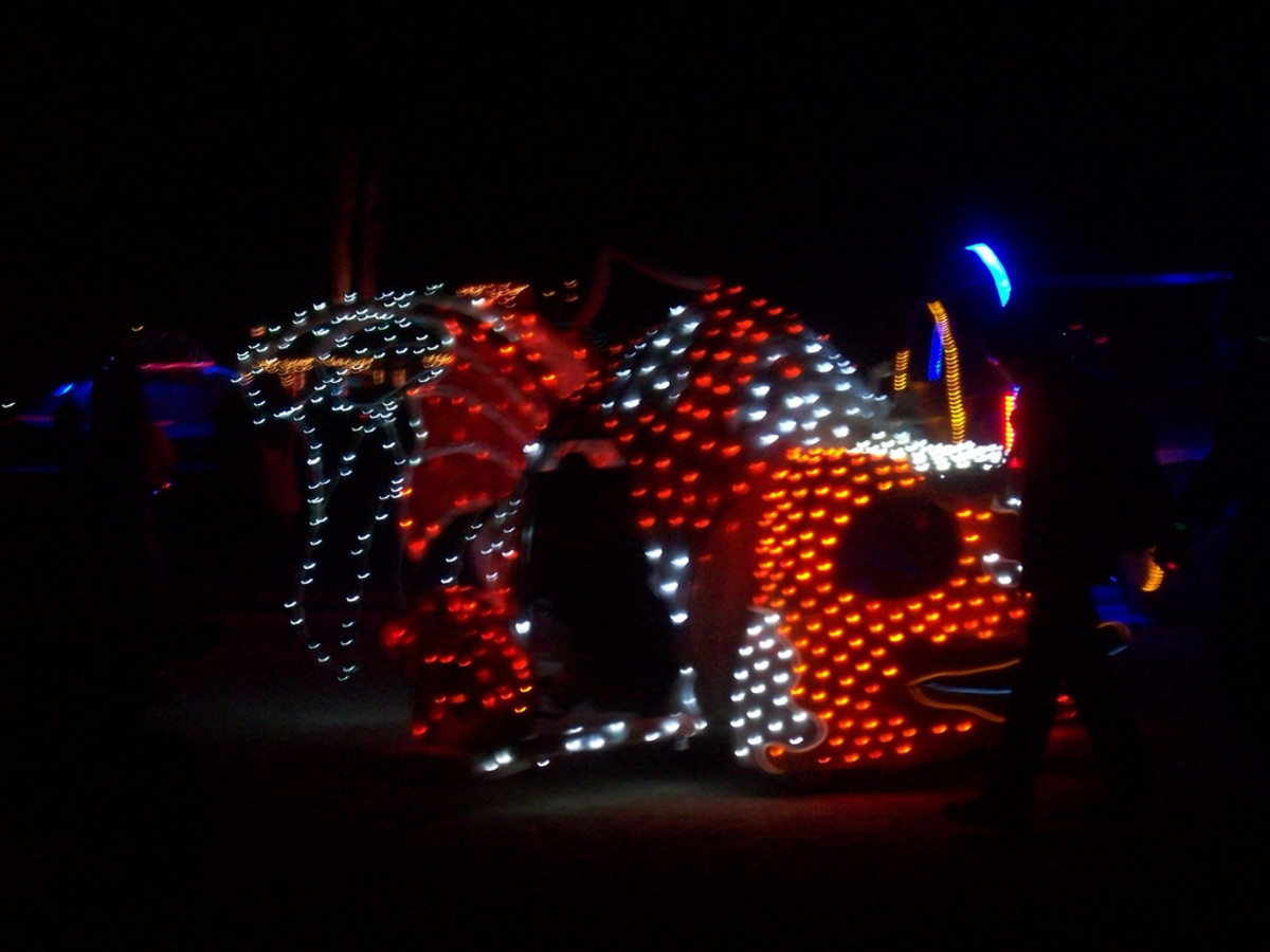 Koi Art Car at Night
