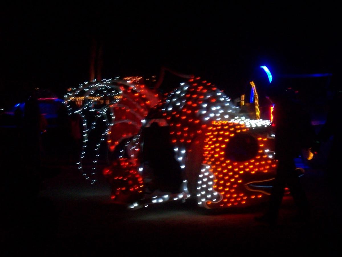 Koi Art Car at Night