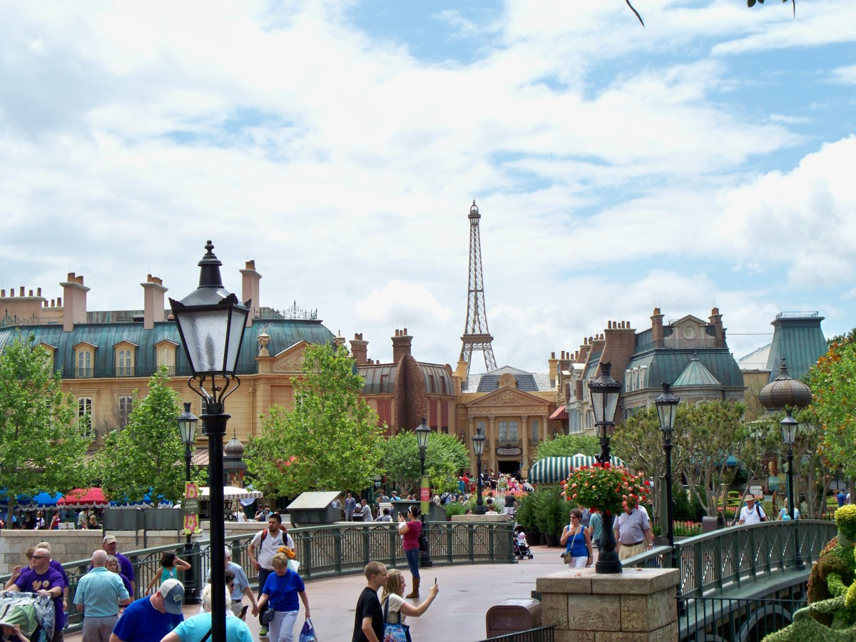 Epcot's World Showcase - Shot of the Eiffle Tower in the background