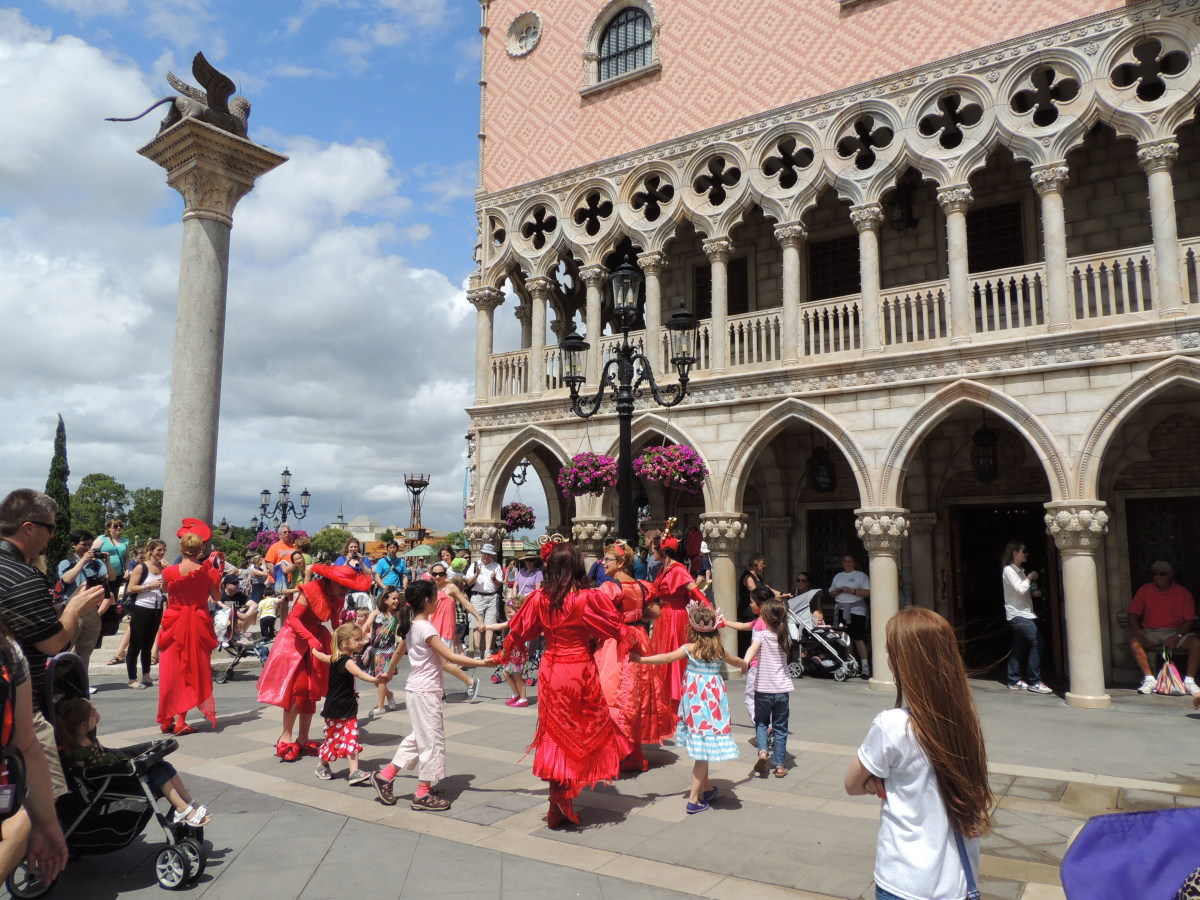 Epcot's World Showcase - Street show in the Italy area