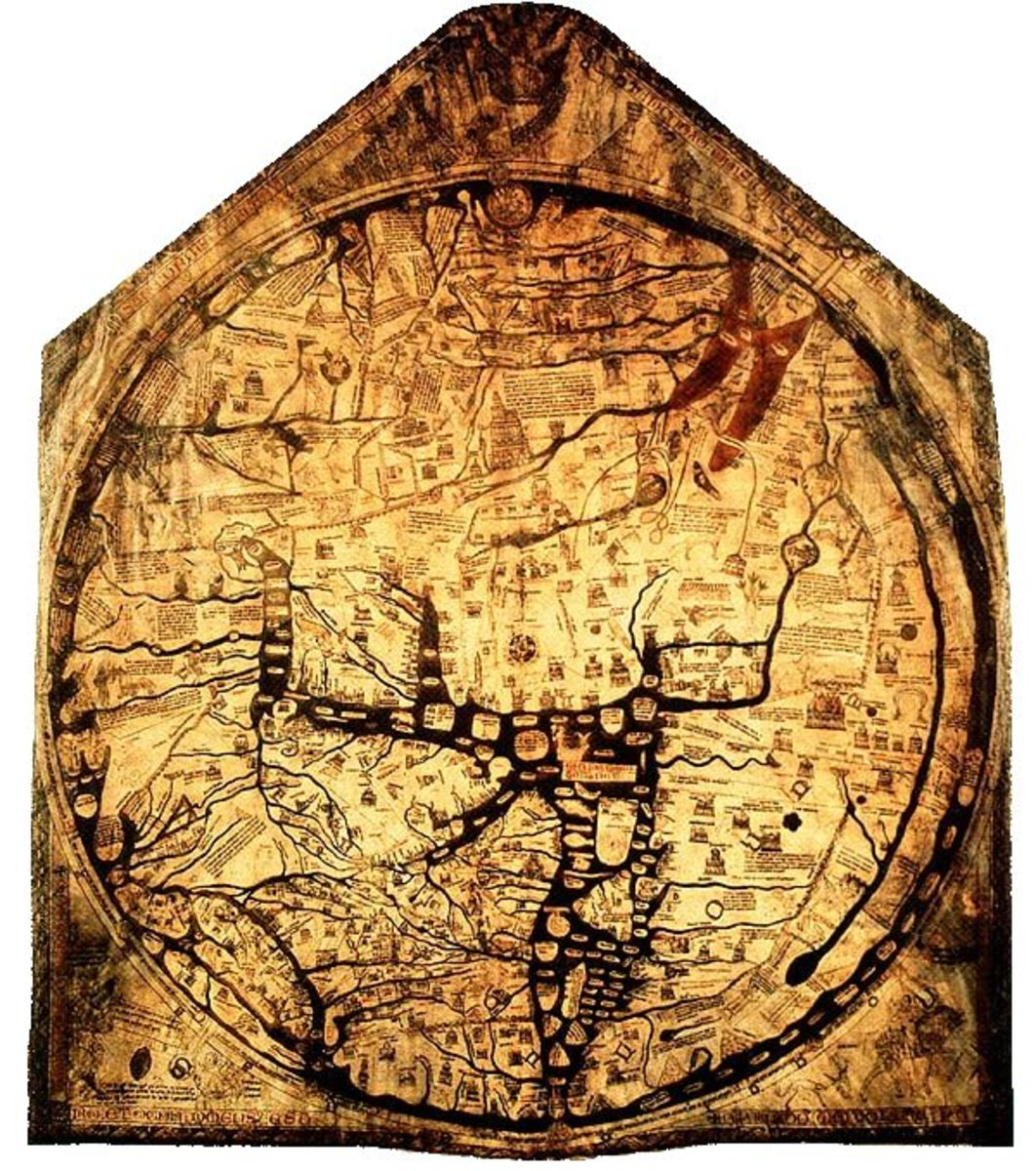 Mappa Mundi map of the world dating from 1300