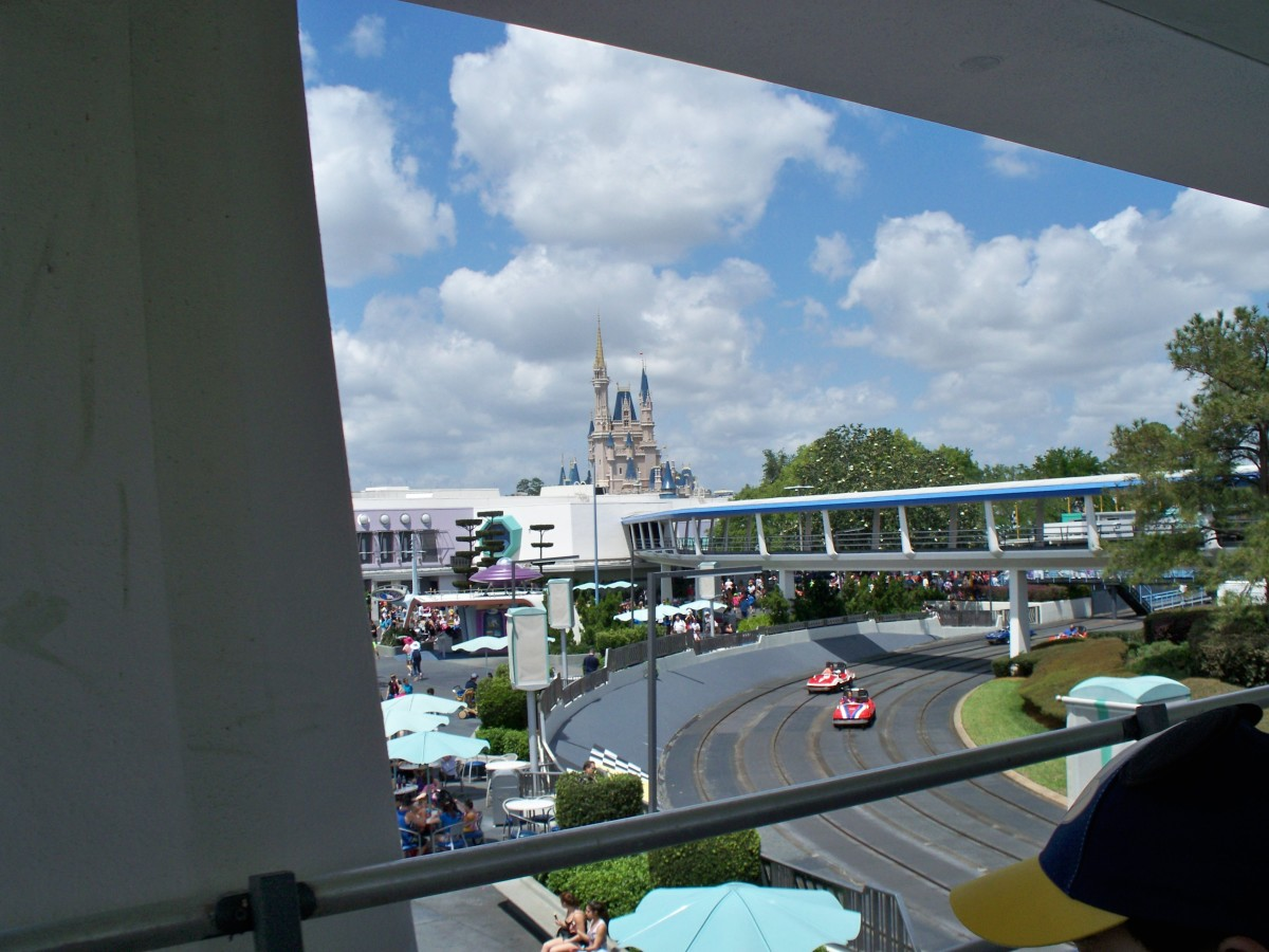 Tomorrowland Speedway at Disney's Magic Kingdom from the Tomorrowland Transit Authority People Mover.