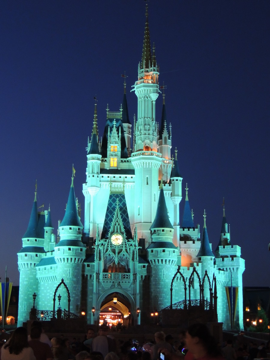 Cinderella's Castle at Walt Disney's Magic Kingdom lit up at night.