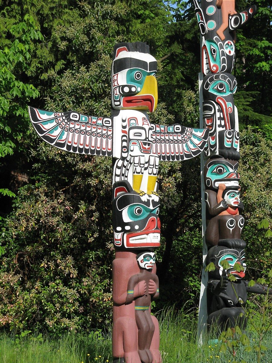 An attractive and interesting totem pole