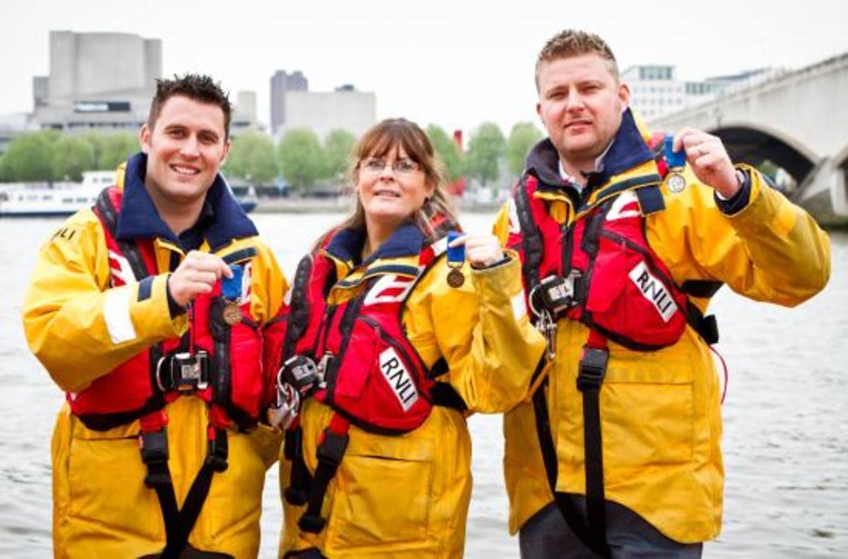 Port Isaac RNLI Crew Awarded Medals for Gallantry: Matt Main, Nichola-Jane Bradbury, Damien Bolton
