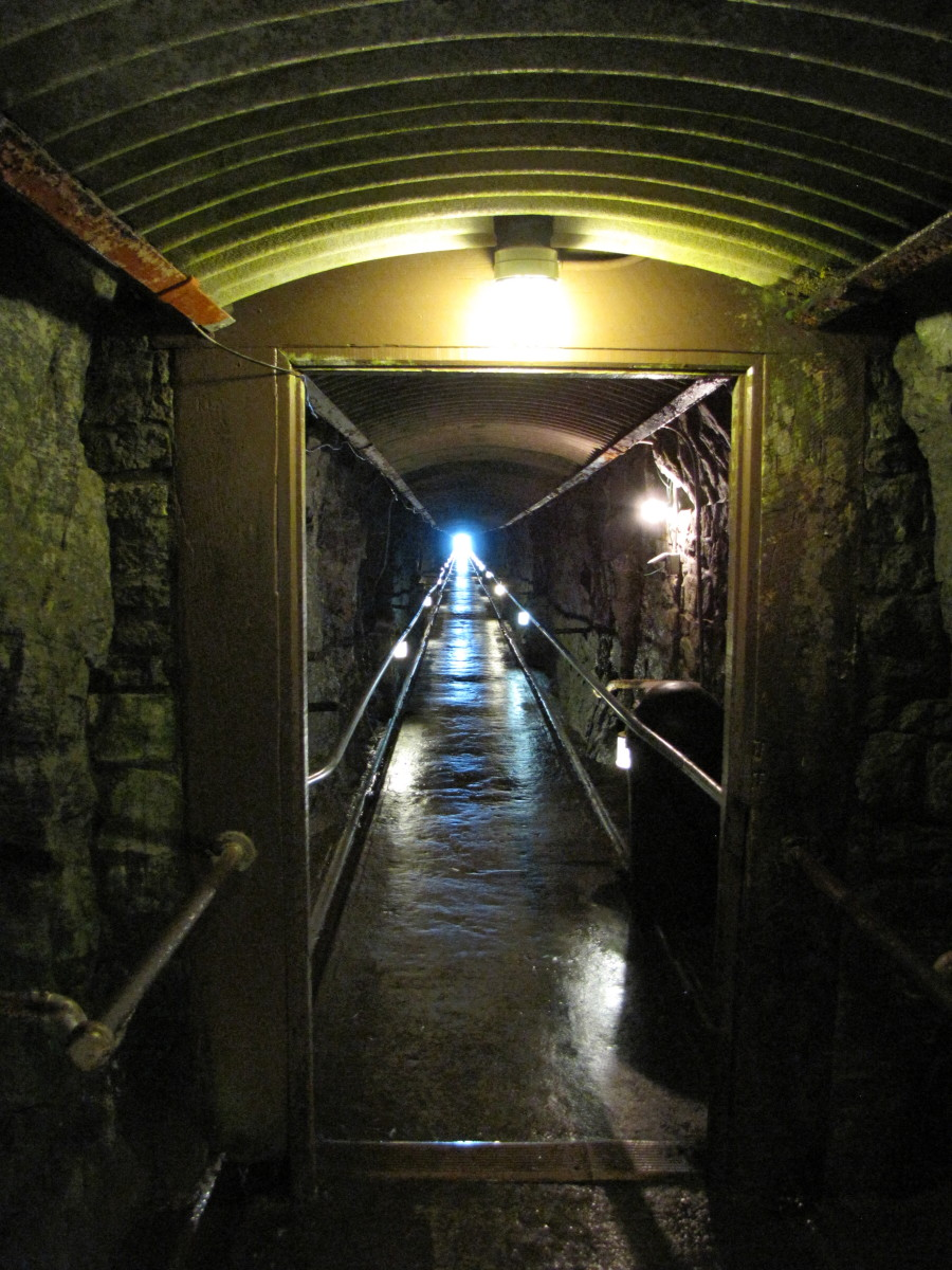 The tunnel that leads to the elevator.