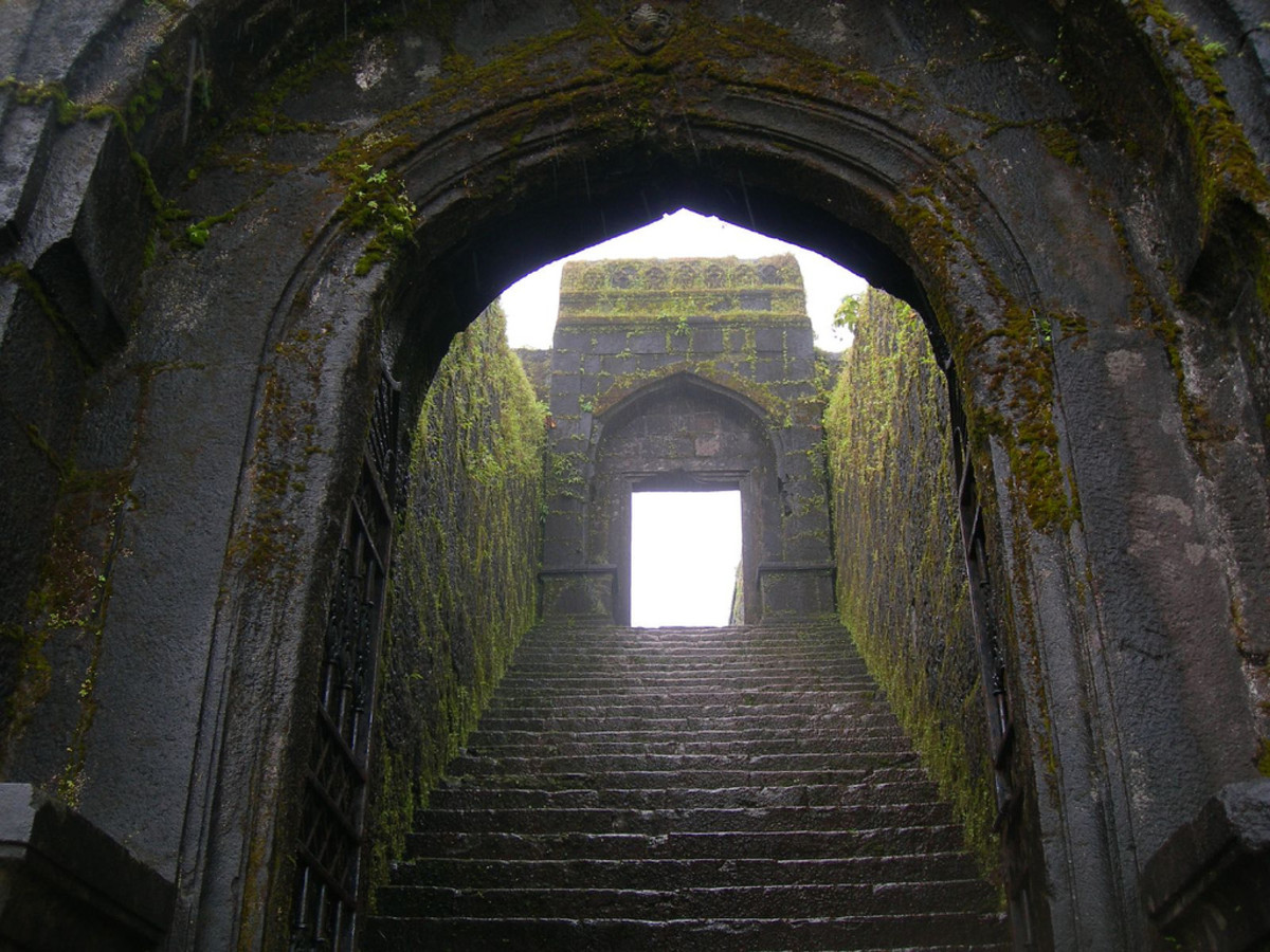 The entry to Raigad Fort in Maharashtra.