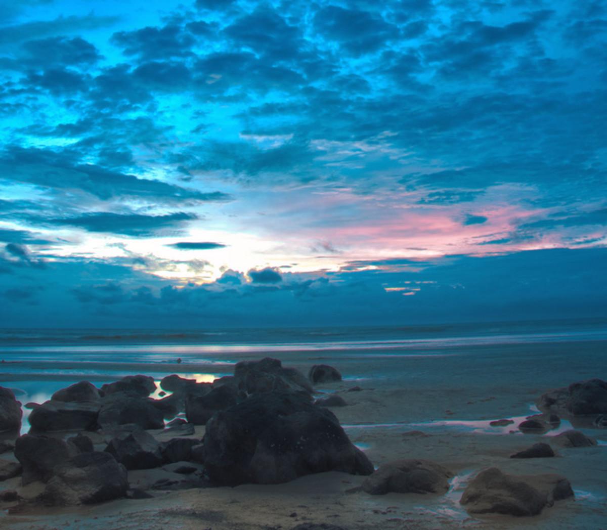 Kashid beach after sunset.