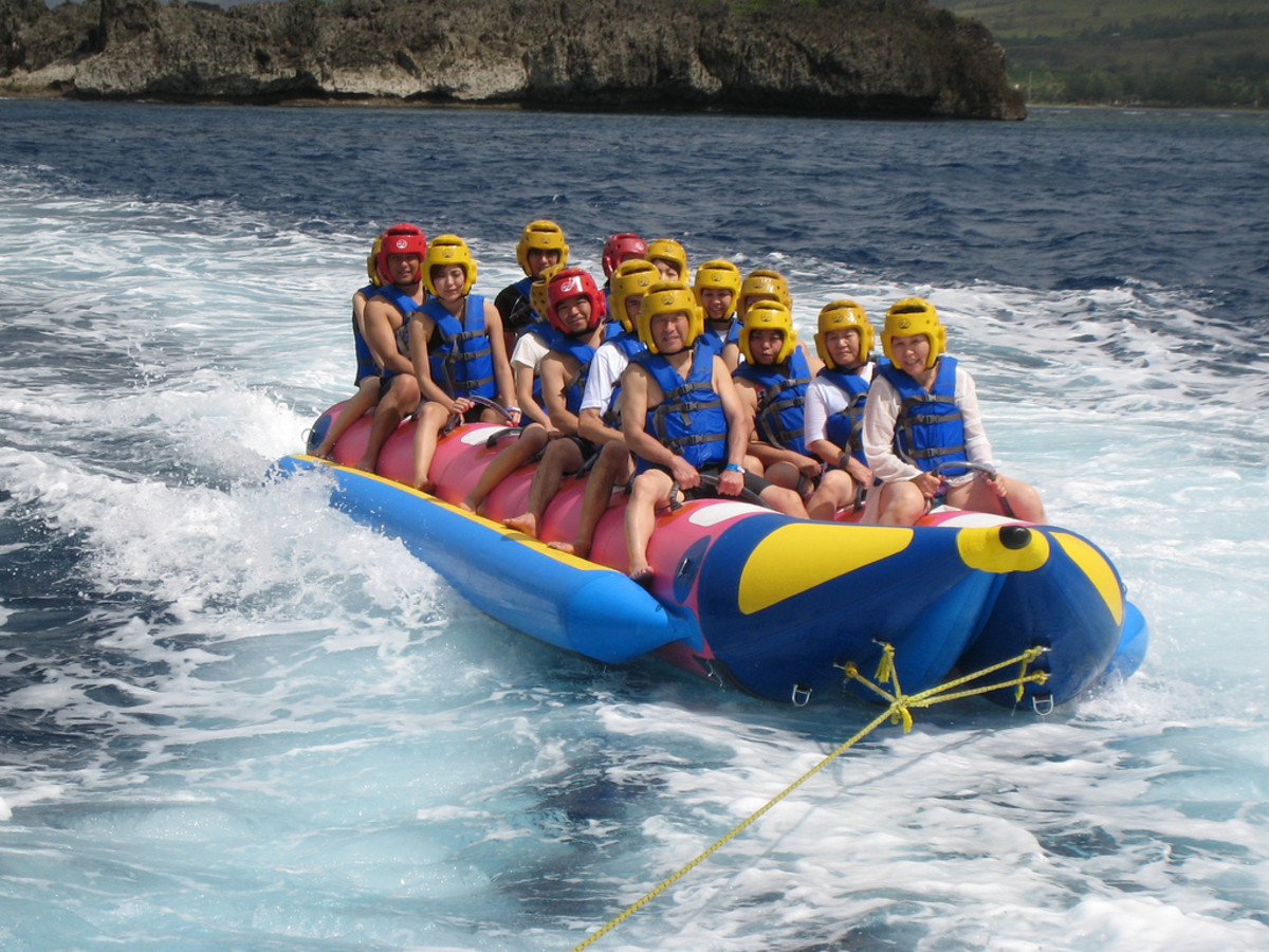 Go for a banana boat ride with friends or family.