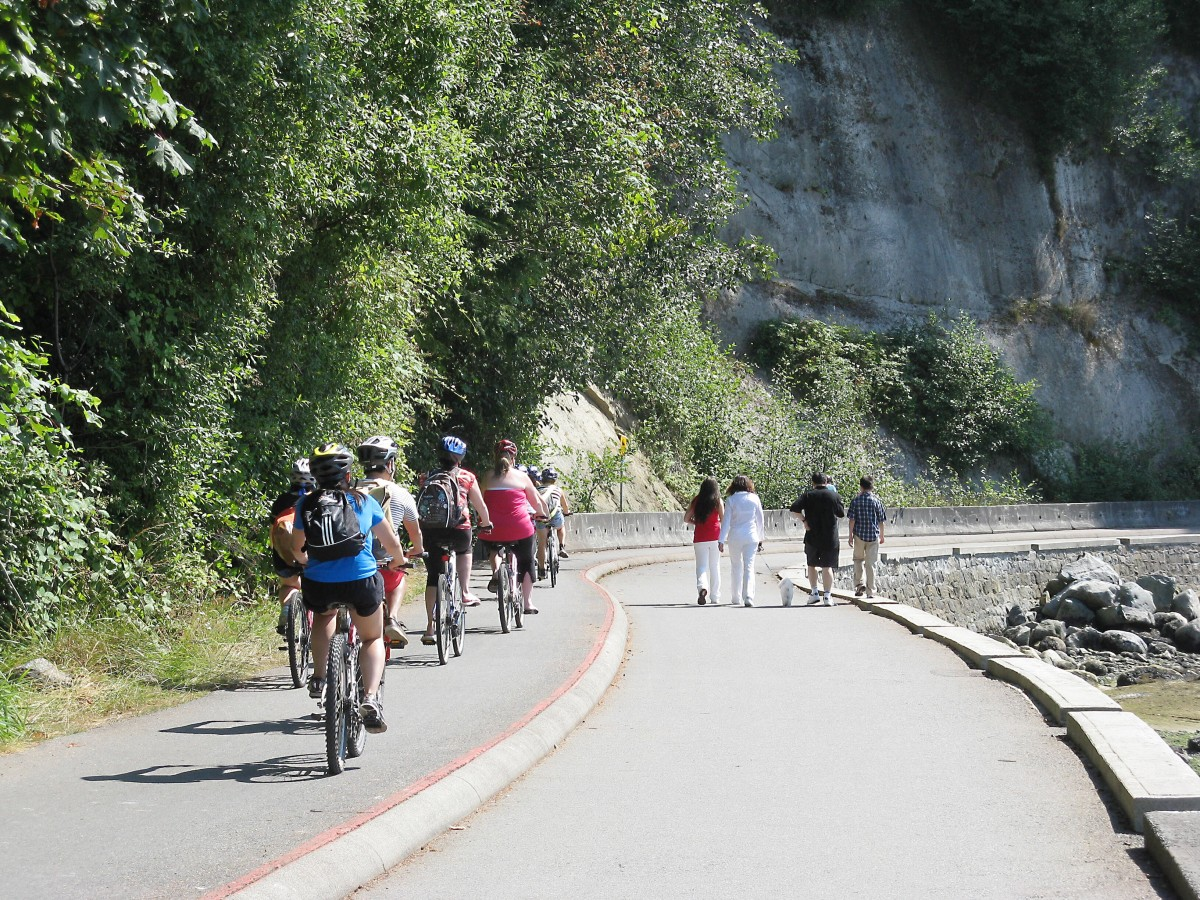 Cyclists and walkers on the seawall path