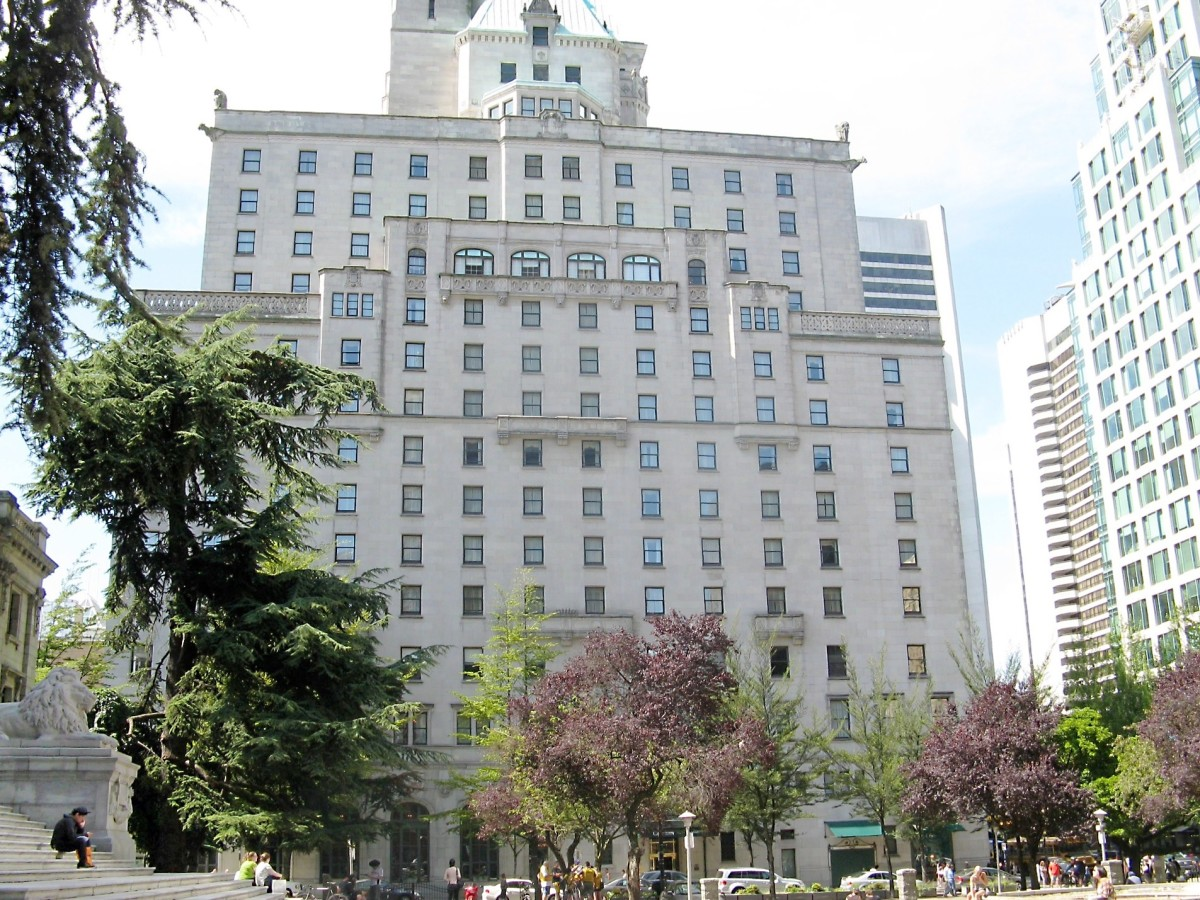A side view of the Hotel Vancouver