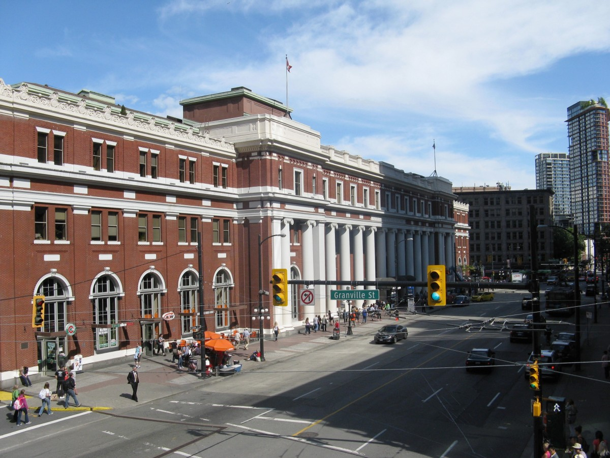 The ornate Waterfront SkyTrain station; the building used to belong to the Canadian Pacific Railway. SkyTrain is a rapid transit system.