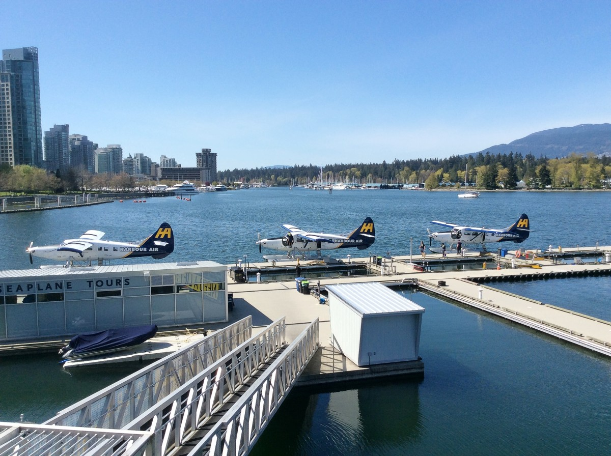 Float planes near Canada Place