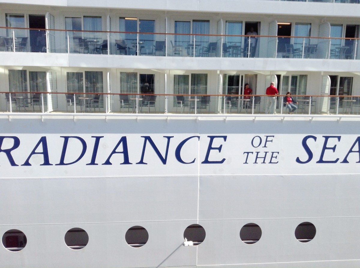 A close-up view of a cruise ship