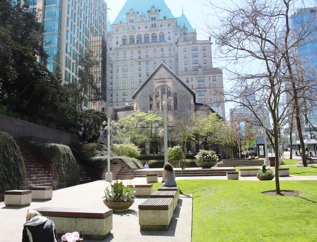 The Hotel Vancouver as viewed from behind the cathedral in Cathedral Place